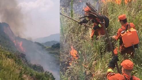湖北咸宁村民上坟烧纸引发山火,目击者:火上山顶,控制不了了!