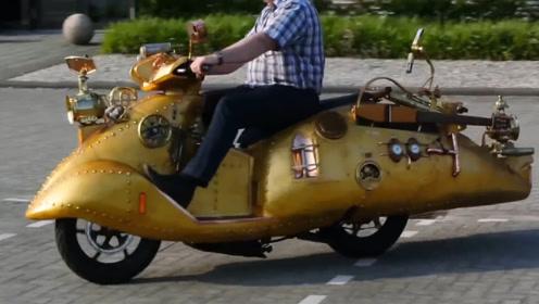 国外老哥造出蒸汽朋克摩托车,秀翻群众双眼加油站表示干不下去!