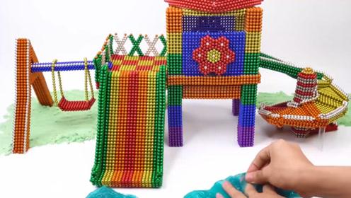 教萌娃小可爱们用磁力巴克球制作小型滑梯和秋千,小巧又精致!