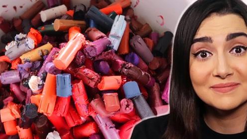土豪美女融化600支新口红,只为打造一支专属口红?颜色太高级