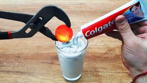 1000度的铁球碰上牙膏会怎样?老外亲测,结果意外发生了!