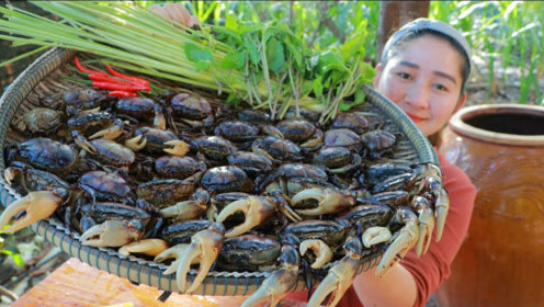 田园美食:这才是吃螃蟹的正确方式,村花户外自制美食