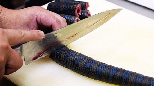 日本连海蛇都敢吃?当地厨师一顿操作猛如虎,成品令人瑟瑟发抖!