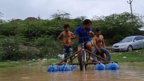 男子制作水上自行车,这装备还真是过分,网友:厉害了