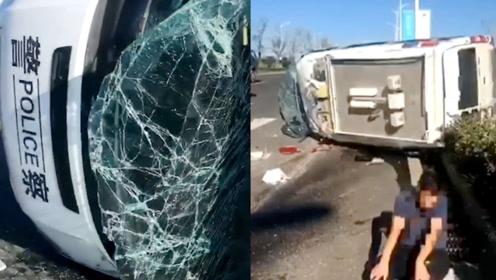 安徽滁州一小车与客车刮碰,失控飞跃绿化带撞翻警车,致2人受伤