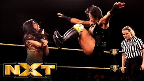 NXT526期: 阿莉亚甩边绳干扰 中国女将李霞旋风腿取胜