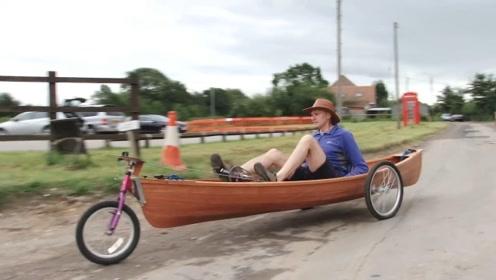 大爷打造的自行车船,不仅能在陆地上跑还能下湖,方便又实用
