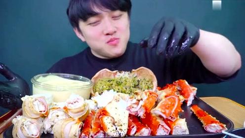帝王蟹的吃播放送,这么吃太过瘾咯,一个人吃一大只,满足