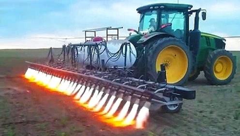 美国打造,最牛除草神车深入地下15厘米,大火将杂草连根烧光