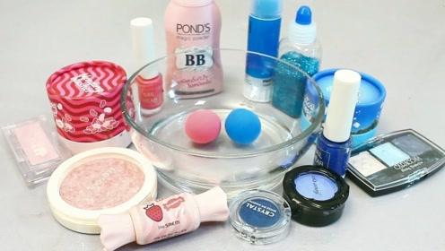 DIY自制无硼砂史莱姆,搭配黏土声控球和各种化妆品,声音解压