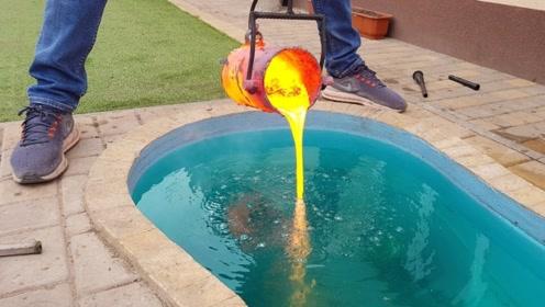 老外将高温熔岩,倒进自家泳池内,结果误打误撞弄出个艺术品!