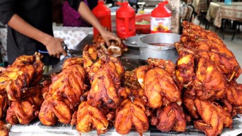 太重口味了吧?印度老板直接把炸鸡剪成块混着糊糊炒,你敢吃吗