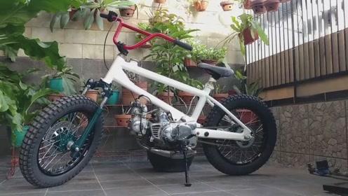 小伙用本田发动机制作摩托车,没想到出来后这么便捷,真是不可思议