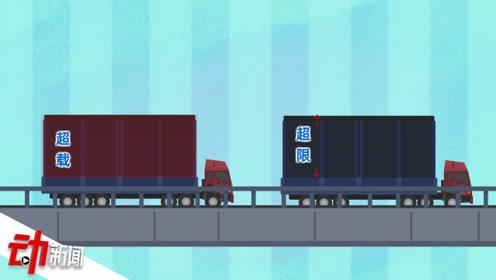 车辆超载50%公路寿命将缩80% 动画教你如何识别危险大货车