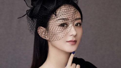 赵丽颖黑色斜肩长裙搭配网纱礼帽,妆容精致优雅满分!