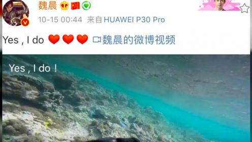结束11年恋爱长跑!魏晨向女友求婚成功,水中献上钻戒方式浪漫