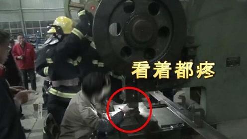 江苏一女工右手被30吨重冲压机压住镇江消防忙拆机救人
