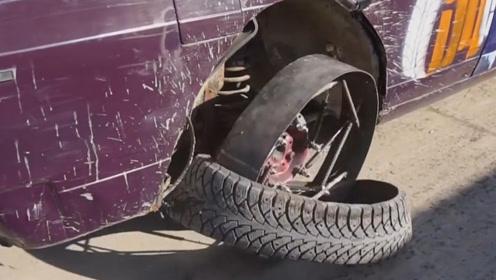 大叔用减震器制作汽车轮,减震效果会好吗?上路实验后,效果意外