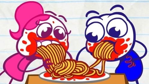 铅笔男孩约会吃大餐,女友千方百计想吃他那一份,铅笔人会答应吗?
