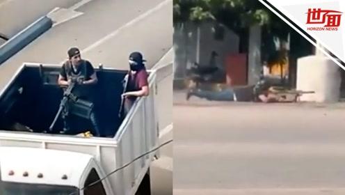 墨西哥大毒枭之子被捕后 黑帮分子持枪上街与警察火拼
