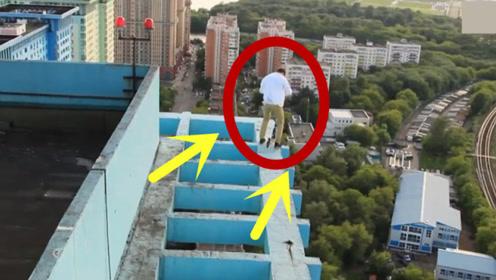 国外小伙极限跑酷,28楼楼顶骑自行车,第一视角太吓人!