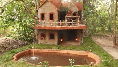 穷小伙野外建造豪华别墅,辛苦忙碌一整天,结果惊艳众人!