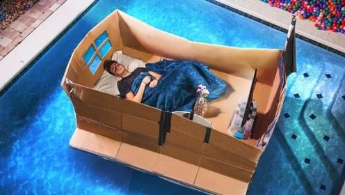 老外挑战:在泳池睡一宿,结果多次濒临崩溃,网友:该!