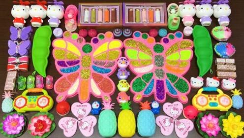 彩色蝴蝶版彩泥+菠萝泥+荧光粉,自制无硼砂史莱姆,效果超极好