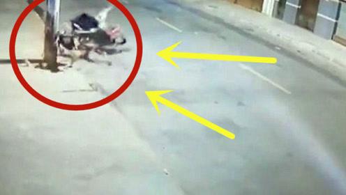 摩托车全速撞上电线杆,调取监控后,发现真相并不简单!