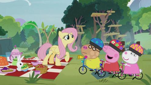 佩奇紫悦和苏西被困在神秘空间开野餐派对 通过任意门穿越到了不同的地方