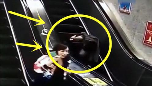在电梯上来回翻滚,监控拍下短裙女子意外的全过程