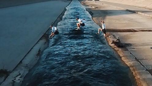 跑酷达人弹力惊人,一脚跨越8.5米宽河流,出门吃饭户户免单!