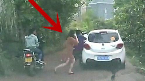 新手女司机刚下车就发生了这一幕,一旁的老公也傻眼了!