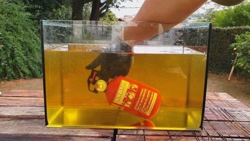 在食用油里喷灭火剂,会是怎样的画面?网友:很像一锅鸡汤