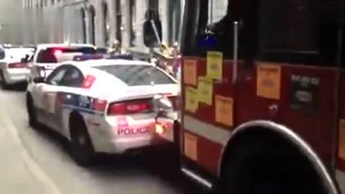 消防车撞开3警车撞烂1宝马去救火