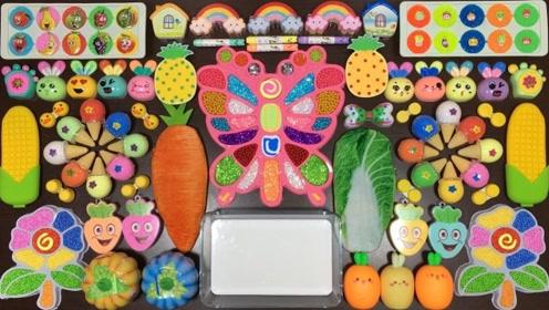 创意史莱姆教程,玉米黏土+彩虹起泡胶+超萌小兔彩泥,超级治愈