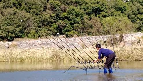 野湖连架一排竿,几分钟后真是忙坏了,野鱼疯狂连杆上钩