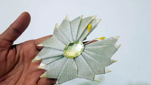 创意手工DIY,用彩带制作漂亮的蝴蝶结发饰