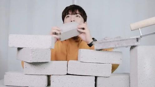 水泥砖也能吃?韩国小哥哥现场直播,一口咬下我都怕他把牙咯掉