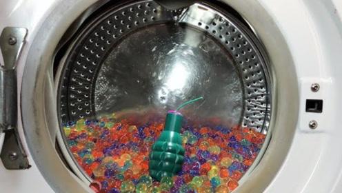 1000颗水宝宝扔进洗衣机搅动,接着扔进一个鞭炮,会出现什么惊艳画面?