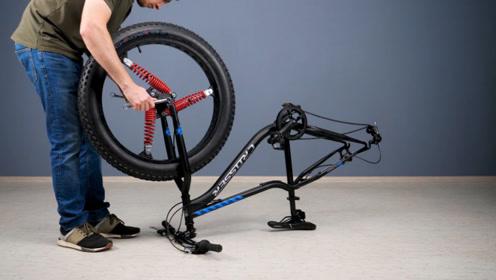 牛人把减震器装进自行车钢圈里,这样改装真是脑洞大开,长见识了