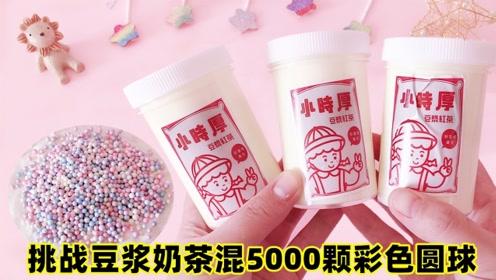 挑战豆浆奶茶起泡胶混5000颗彩色圆球,无硼砂,声音好听到爆炸