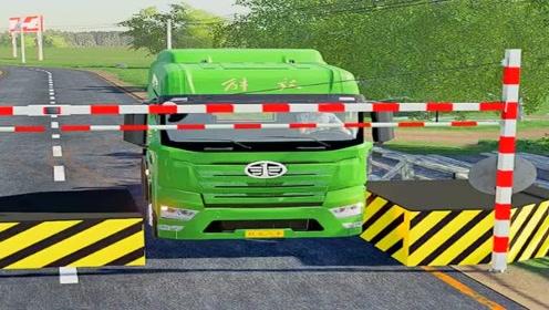 模拟驾驶:大货车过路障,场景太逼真了,考个A本太难了!