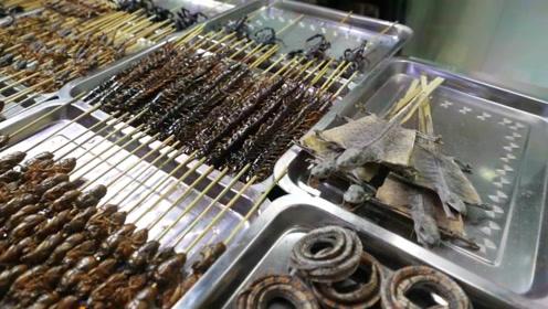 蝎子海星和各种昆虫,变成串串在街头热闹上演