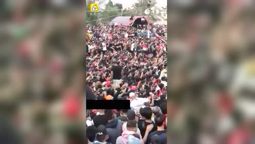 世界杯预选赛赢伊朗!伊拉克球迷欢庆足球赛获胜,示威者加入