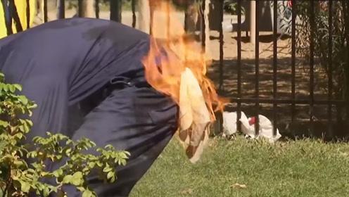 最危险恶作剧!工人身上的毛巾被火花溅到突然冒起大火,真是可怕