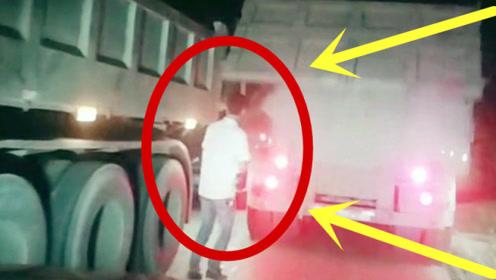 男子胆大妄为,强势加塞货车身后,3秒后死神与他擦肩而过!