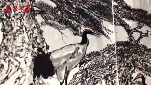 五条屏五只鹤五棵松,盘龙城书画家这样表达爱国之心
