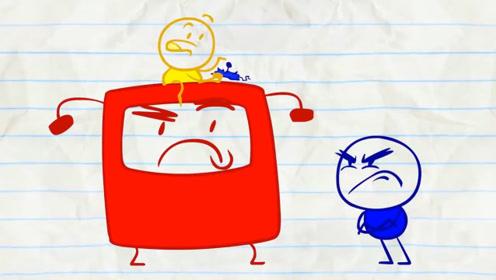 小蓝打碎了小黄的遥控器,小黄的哥哥知道了事情后,愤怒的找小蓝算账