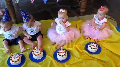 四胞胎过一周岁生日,这阵容搭配太完美了,两儿两女,真让人羡慕